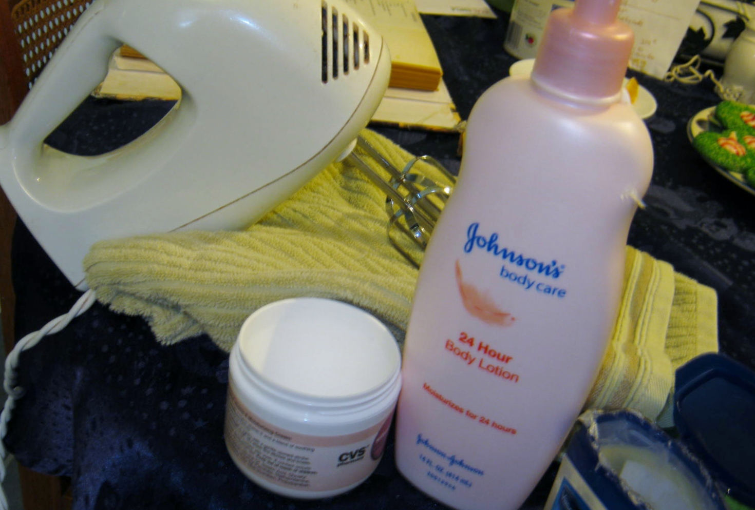 Gather Supplies: Big Mixing Bowl, Mixer, 8 oz Baby Lotion, 4 oz Vitamin E Cream, 4 oz Vaseline. (As you can see if you check out the blog recipe at bottom ...