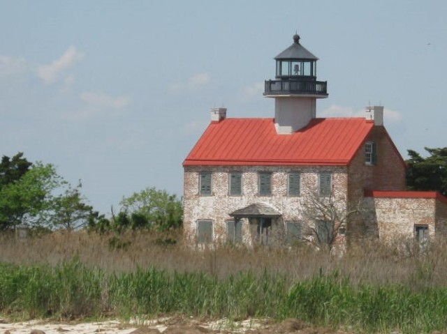 East Point Lighthouse with its brick colored roof