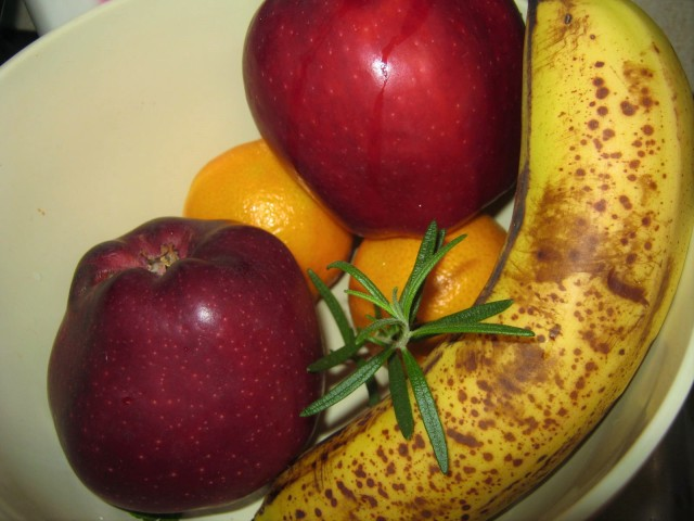 fruit bowl with rosemary