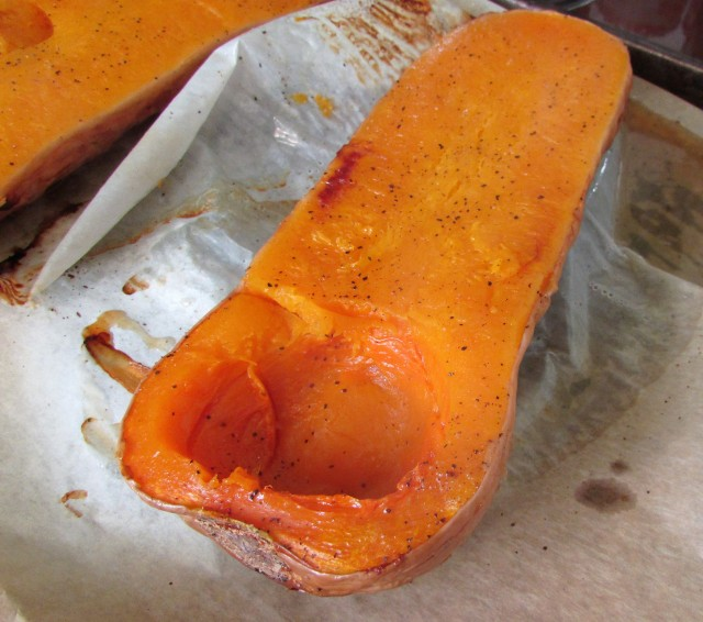 Brown roasted areas of the squash add flavor to the soup.
